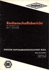 Front page of the first financial report of DekaFonds I of 1956