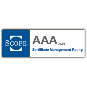 Auszeichnung: Scope Rating AAA, Zertifikate Management Rating